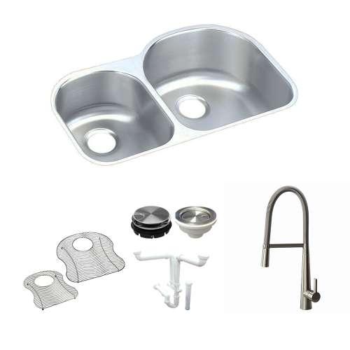 Elkay Harmony Lustertone Stainless Steel 31-In Undermount Kitchen Sink Kit With Kitchen Sink, Bottom Grids, Faucet, Strainer, Disposer Strainer
