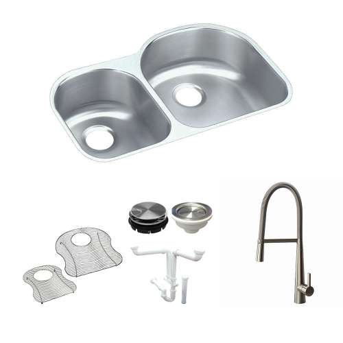 Elkay Harmony Lustertone Stainless Steel 31-In Undermount Kitchen Sink Kit With Kitchen Sink, Bottom Grids, Faucet, Strainer, Disposer Strainer