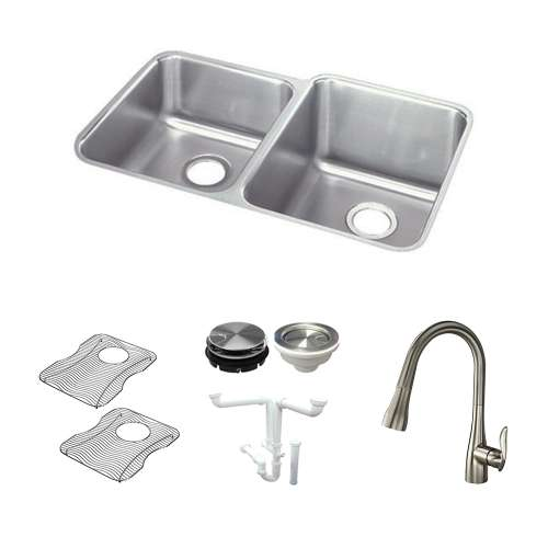 Elkay Lustertone Stainless Steel 31-In Undermount Kitchen Sink Kit With Kitchen Sink, Bottom Grids, Faucet, Strainer, Disposer Strainer