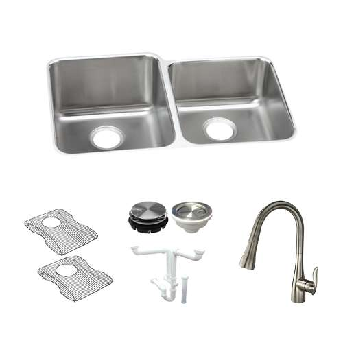 Elkay Gourmet Lustertone Stainless Steel 31-In Undermount Kitchen Sink Kit With Kitchen Sink, Bottom Grids, Faucet, Strainer, Disposer Strainer