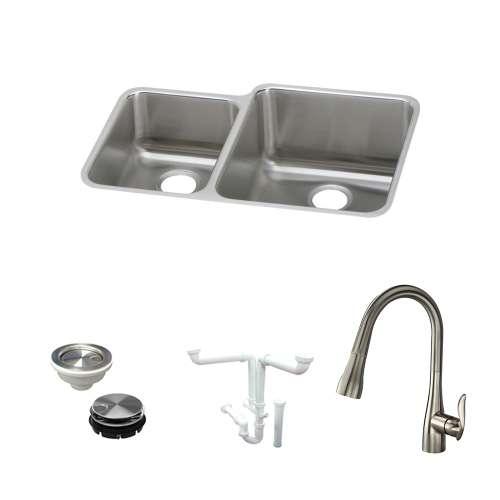 Elkay Gourmet Lustertone Stainless Steel 31-In Undermount Kitchen Sink Kit With Kitchen Sink, Faucet, Strainer, Disposer Strainer, Drain Installation Kit