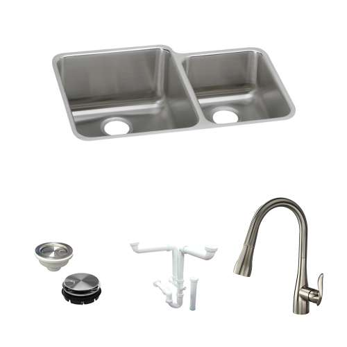 Elkay Gourmet Lustertone Stainless Steel 31-In Undermount Kitchen Sink Kit With Kitchen Sink, Faucet, Strainer, Disposer Strainer, Drain Installation Kit