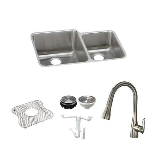 Elkay Gourmet Lustertone Stainless Steel 32-In Undermount Kitchen Sink Kit With Kitchen Sink, Bottom Grid, Faucet, Strainer, Disposer Strainer, Drain Installation Kit