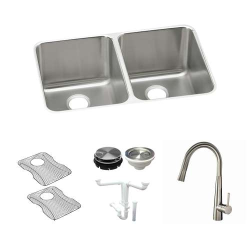 Elkay Gourmet Lustertone Stainless Steel 31-In Undermount Kitchen Sink Kit With Kitchen Sink, Bottom Grids, Faucet, Strainer, Disposer Strainer, Drain Installation Kit