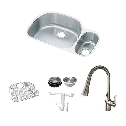 Elkay Harmony Lustertone Stainless Steel 32-In Undermount Kitchen Sink Kit With Kitchen Sink, Bottom Grid, Faucet, Strainer, Disposer Strainer, Drain Installation Kit