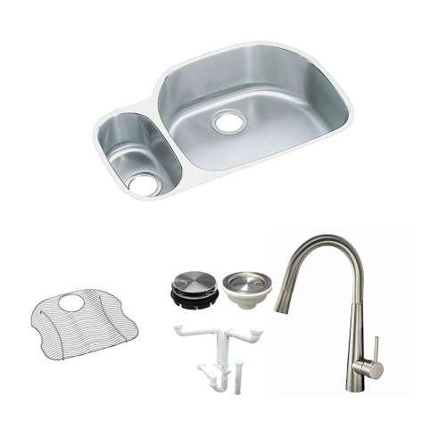 Elkay Harmony Lustertone Stainless Steel 32-In Undermount Kitchen Sink Kit With Kitchen Sink, Bottom Grid, Faucet, Strainer, Disposer Strainer, Drain Installation Kit
