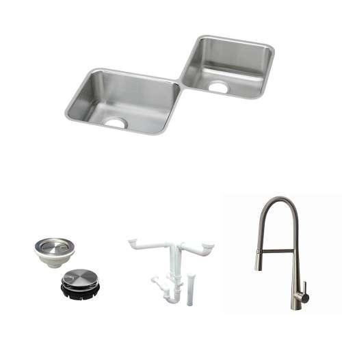 Elkay Gourmet Lustertone Stainless Steel 32-In Undermount Kitchen Sink Kit With Kitchen Sink, Faucet, Strainer, Disposer Strainer, Drain Installation Kit