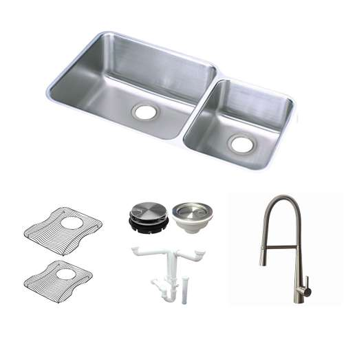 Elkay Gourmet Lustertone Stainless Steel 35-In Undermount Kitchen Sink Kit With Kitchen Sink, Bottom Grids, Faucet, Strainer, Disposer Strainer