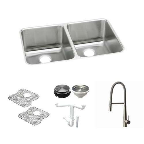 Elkay Gourmet Lustertone Stainless Steel 36-In Undermount Kitchen Sink Kit With Kitchen Sink, Bottom Grids, Faucet, Strainer, Disposer Strainer, Drain Installation Kit