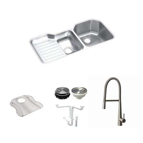 Elkay Harmony Lustertone Stainless Steel 42-In Undermount Kitchen Sink Kit With Kitchen Sink, Bottom Grid, Faucet, Strainer, Disposer Strainer, Drain Installation Kit