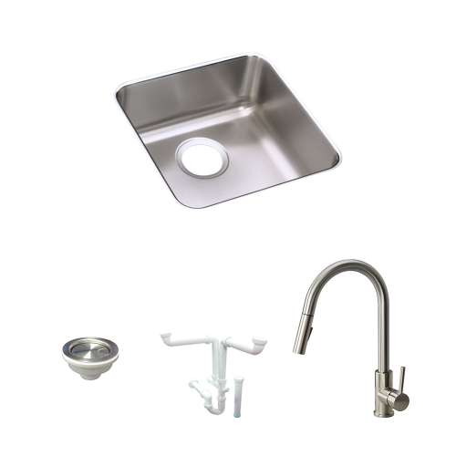 Elkay Lustertone Stainless Steel 15-In Undermount Kitchen Sink Kit With Kitchen Sink, Faucet, Strainer, Drain Installation Kit