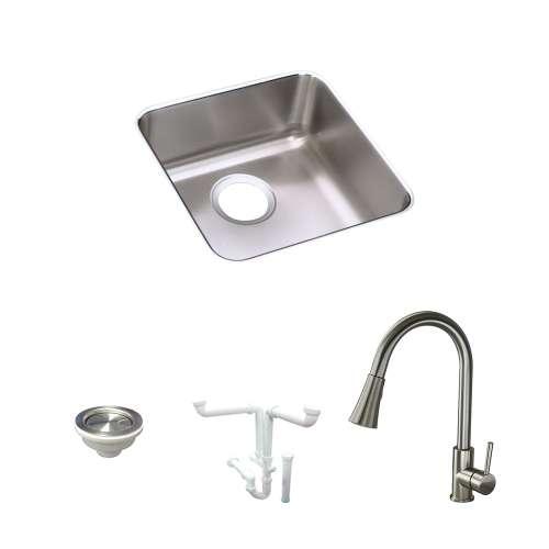 Elkay Lustertone Stainless Steel 17-In Undermount Kitchen Sink Kit With Kitchen Sink, Faucet, Strainer, Drain Installation Kit