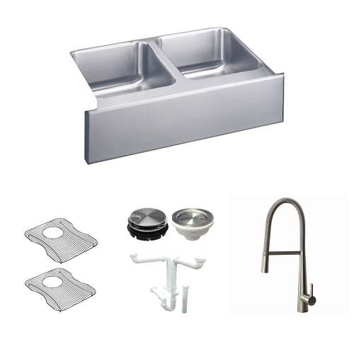 Elkay Gourmet Lustertone Stainless Steel 33-In Apron Front Kitchen Sink Kit With Kitchen Sink, Bottom Grids, Faucet, Strainer, Disposer Strainer, Drain Installation Kit