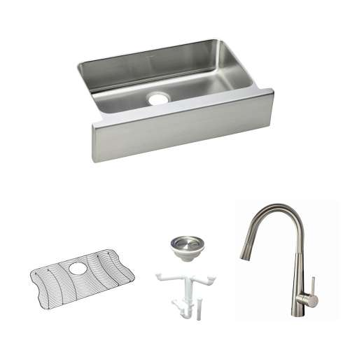 Elkay Gourmet Lustertone Stainless Steel 33-In Apron Front Kitchen Sink Kit With Kitchen Sink, Bottom Grid, Faucet, Strainer, Drain Installation Kit