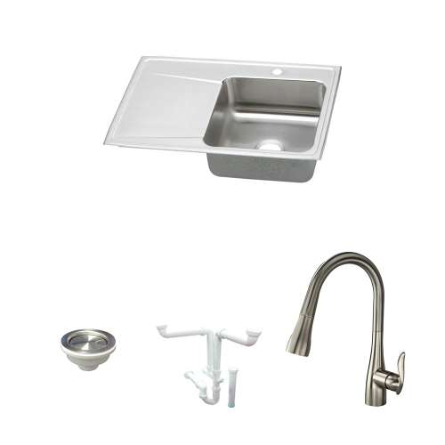 Elkay Lustertone Classic Stainless Steel 33-In Drop-In Kitchen Sink Kit With Kitchen Sink, Faucet, Strainer, Drain Installation Kit