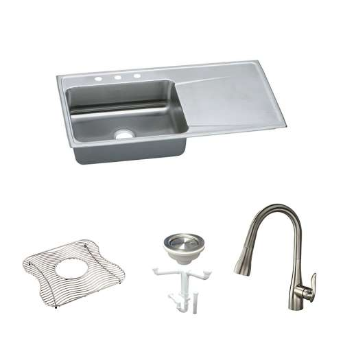 Elkay Lustertone Classic Stainless Steel 43-In Drop-In Kitchen Sink Kit With Kitchen Sink, Bottom Grid, Faucet, Strainer, Drain Installation Kit