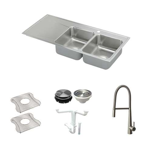 Elkay Lustertone Classic Stainless Steel 48-In Drop-In Kitchen Sink Kit With Kitchen Sink, Bottom Grids, Faucet, Strainer, Disposer Strainer, Drain Installation Kit