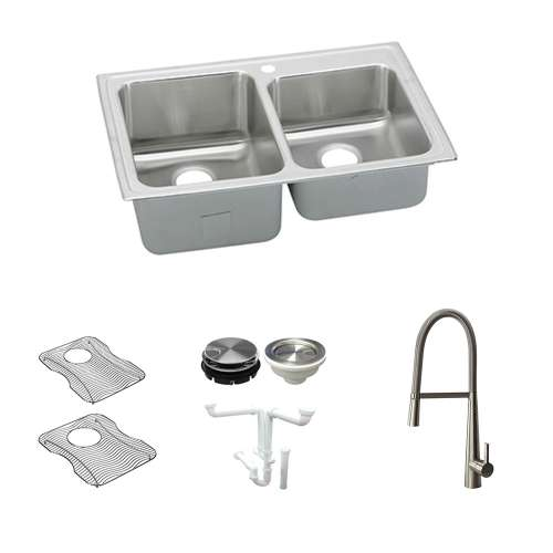 Elkay Lustertone Classic Stainless Steel 33-In Drop-In Kitchen Sink Kit With Kitchen Sink, Bottom Grids, Faucet, Strainer, Disposer Strainer