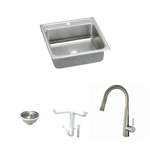 Elkay Lustertone Classic Stainless Steel 22-In Drop-In Kitchen Sink Kit With Kitchen Sink, Faucet, Strainer, Drain Installation Kit