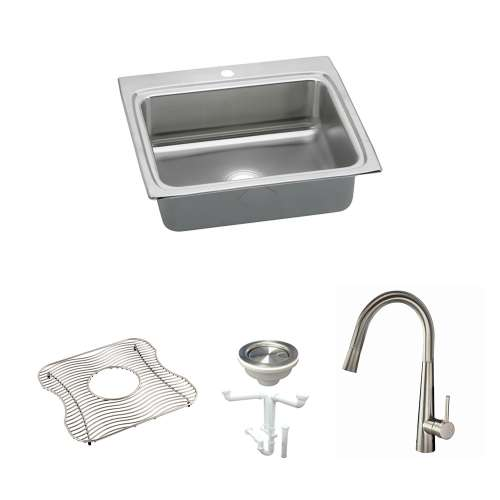 Elkay Lustertone Classic Stainless Steel 25-In Drop-In Kitchen Sink Kit With Kitchen Sink, Bottom Grid, Faucet, Strainer, Drain Installation Kit
