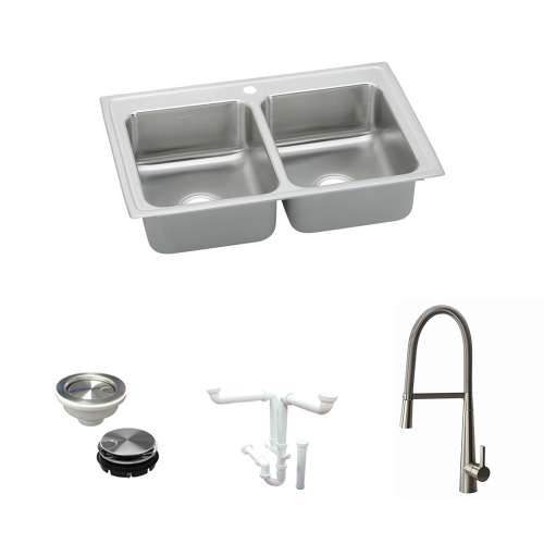 Elkay Lustertone Classic Stainless Steel 29-In Drop-In Kitchen Sink Kit With Kitchen Sink, Faucet, Strainer, Disposer Strainer, Drain Installation Kit
