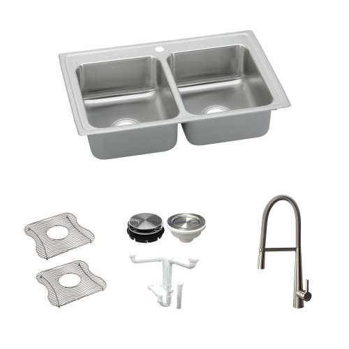 Elkay Lustertone Classic Stainless Steel 29-In Drop-In Kitchen Sink Kit With Kitchen Sink, Bottom Grids, Faucet, Strainer, Disposer Strainer, Drain Installation Kit
