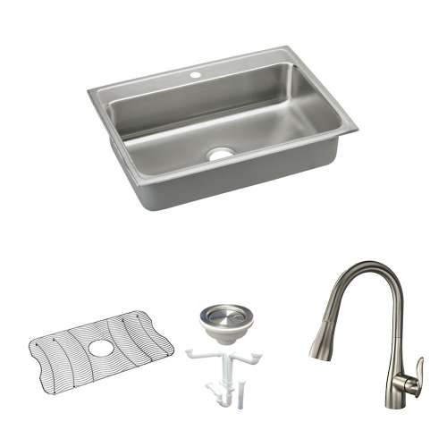 Elkay Lustertone Classic Stainless Steel 31-In Drop-In Kitchen Sink Kit With Kitchen Sink, Bottom Grid, Faucet, Strainer, Drain Installation Kit