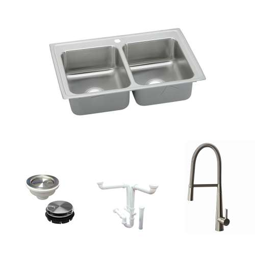 Elkay Lustertone Classic Stainless Steel 43-In Drop-In Kitchen Sink Kit With Kitchen Sink, Faucet, Strainer, Disposer Strainer, Drain Installation Kit