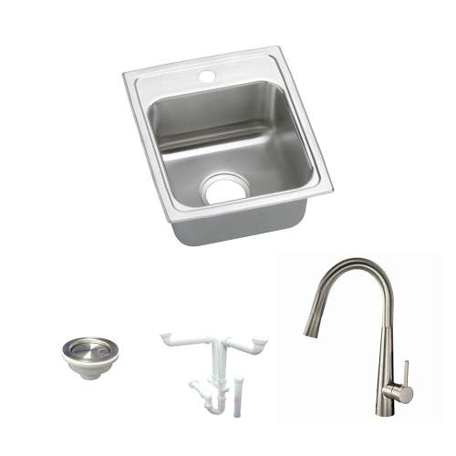 Elkay Lustertone Classic Stainless Steel 13-In Drop-In Kitchen Sink Kit With Kitchen Sink, Faucet, Strainer, Drain Installation Kit