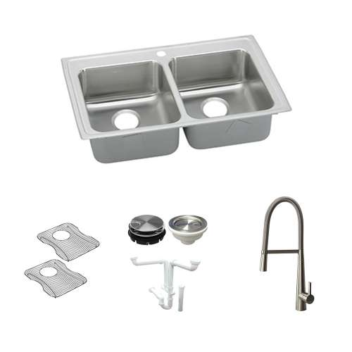 Elkay Lustertone Classic Stainless Steel 33-In Drop-In Kitchen Sink Kit With Kitchen Sink, Bottom Grids, Faucet, Strainer, Disposer Strainer, Drain Installation Kit