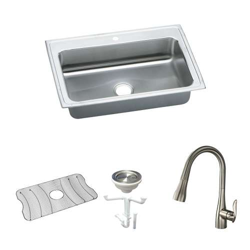 Elkay Lustertone Classic Stainless Steel 33-In Drop-In Kitchen Sink Kit With Kitchen Sink, Bottom Grid, Faucet, Strainer, Drain Installation Kit