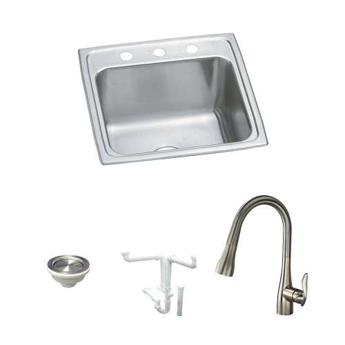 Elkay Pursuit Stainless Steel 20-In Drop-In Kitchen Sink Kit With Kitchen Sink, Faucet, Strainer, Drain Installation Kit