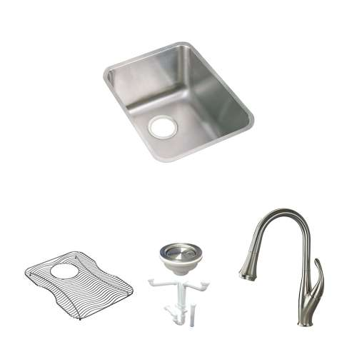 Elkay Pursuit Stainless Steel 17-In Undermount Kitchen Sink Kit With Kitchen Sink, Bottom Grid, Faucet, Strainer, Drain Installation Kit