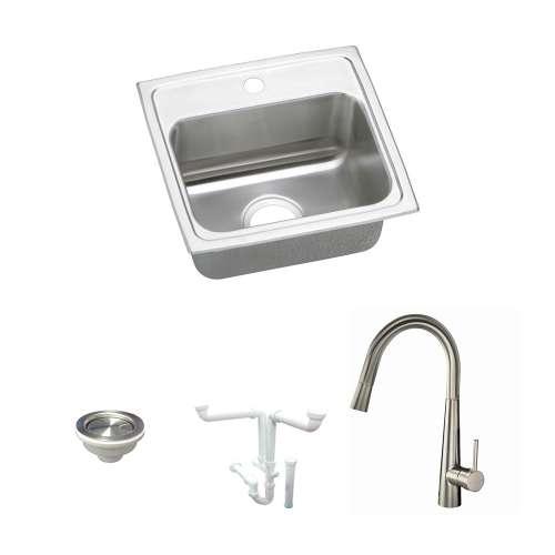 Elkay Celebrity Stainless Steel 17-In Drop-In Kitchen Sink Kit With Kitchen Sink, Faucet, Strainer, Drain Installation Kit