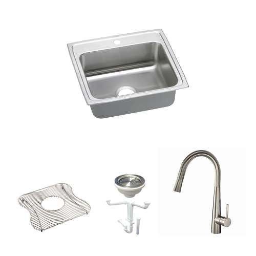 Elkay Celebrity Stainless Steel 25-In Drop-In Kitchen Sink Kit With Kitchen Sink, Bottom Grid, Faucet, Strainer, Drain Installation Kit