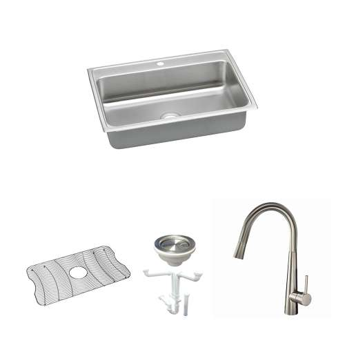 Elkay Celebrity Stainless Steel 31-In Drop-In Kitchen Sink Kit With Kitchen Sink, Bottom Grid, Faucet, Strainer, Drain Installation Kit