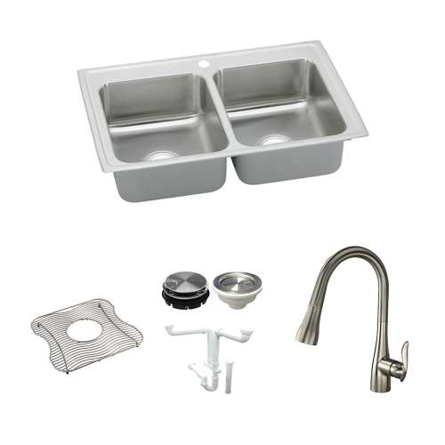 Elkay Celebrity Stainless Steel 33-In Drop-In Kitchen Sink Kit With Kitchen Sink, Bottom Grid, Faucet, Strainer, Disposer Strainer, Drain Installation Kit