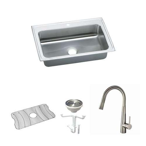Elkay Celebrity Stainless Steel 33-In Drop-In Kitchen Sink Kit With Kitchen Sink, Bottom Grid, Faucet, Strainer, Drain Installation Kit