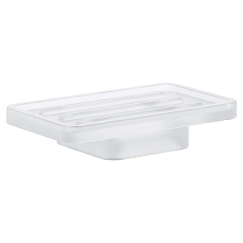 Grohe Selection Cube Glass 4.53-in. Soap Dish daVinci Satin White