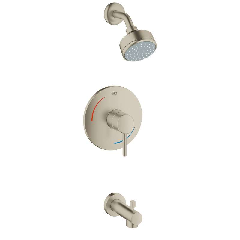 Grohe Concetto Bathtub and Shower Faucet In Brushed Nickel