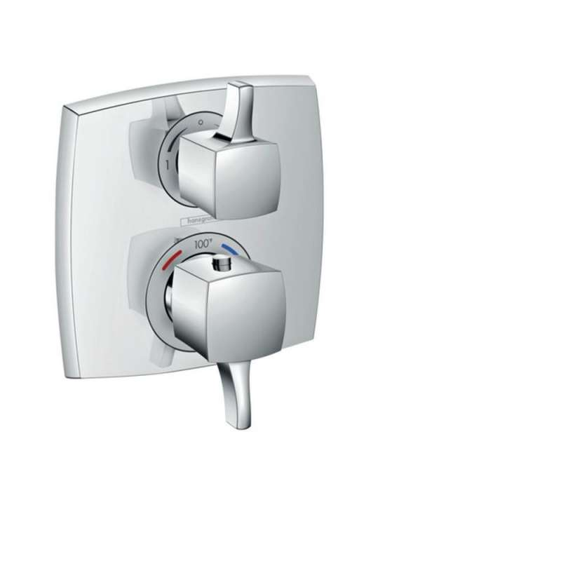 Hansgrohe Ecostat Classic Square Thermostatic Trim with Volume Control and Diverter - In Multiple Colors