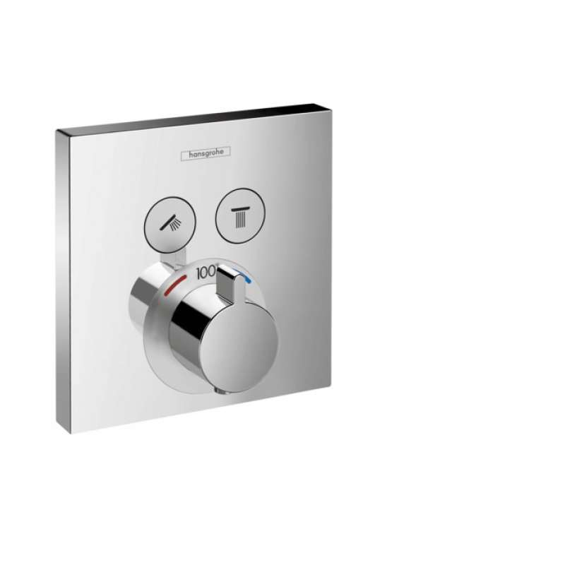 Hansgrohe ShowerSelect Square Thermostatic Trim for 2 Functions - In Multiple Colors