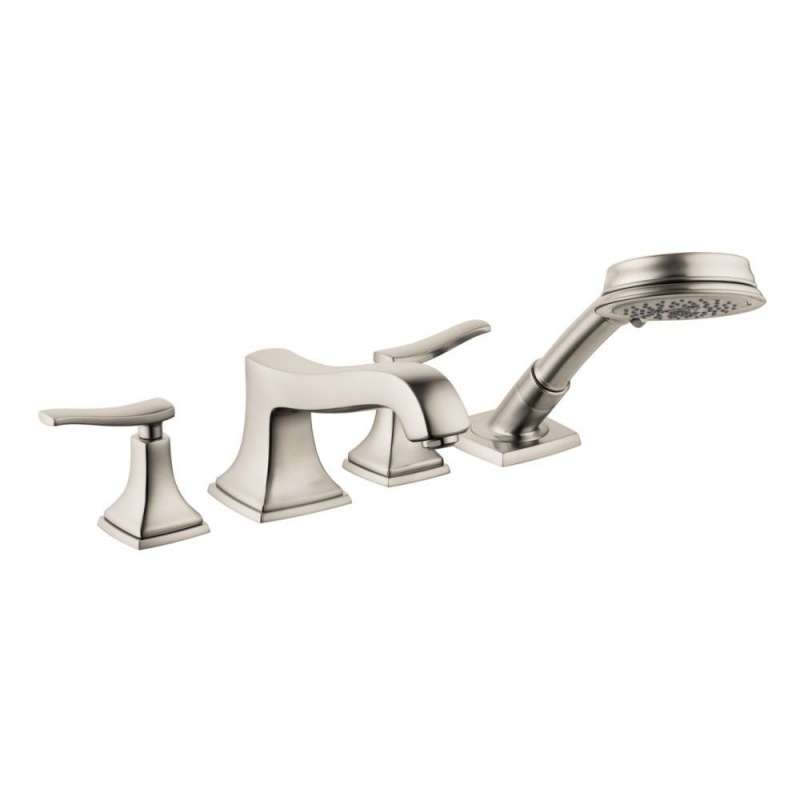Hansgrohe Metropol Classic 4-Hole Roman Tub Set Trim with Lever Handles and 1.8 GPM Handshower