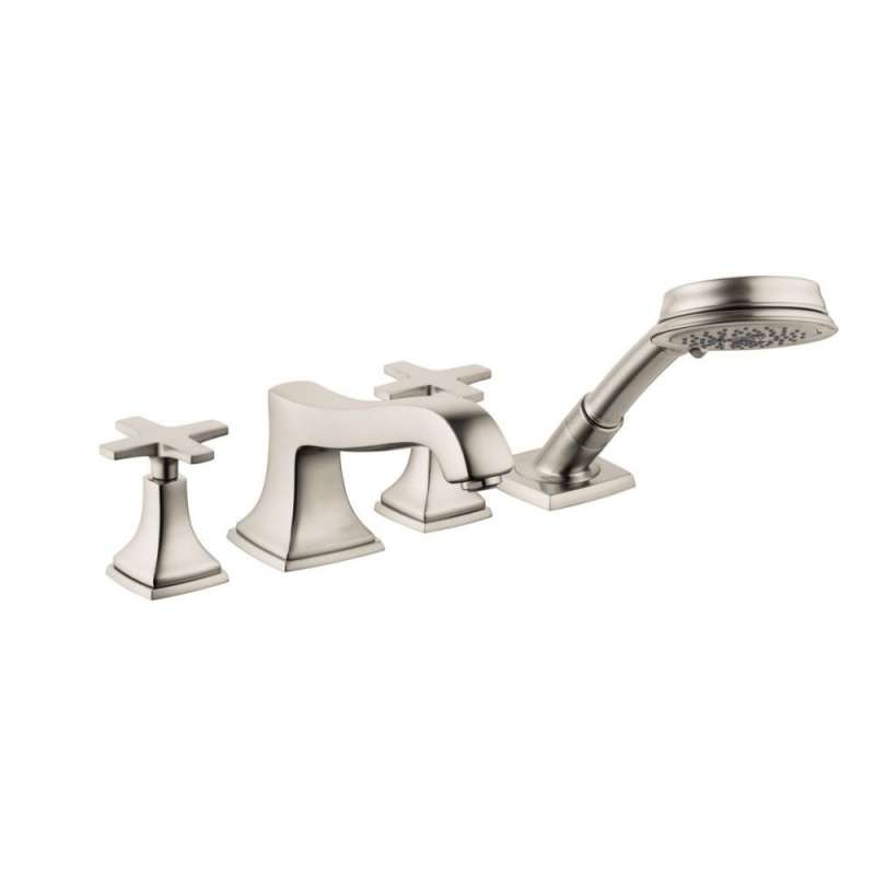 Hansgrohe Metropol Classic 4-Hole Roman Tub Set Trim with Cross Handles and 1.8 GPM Handshower