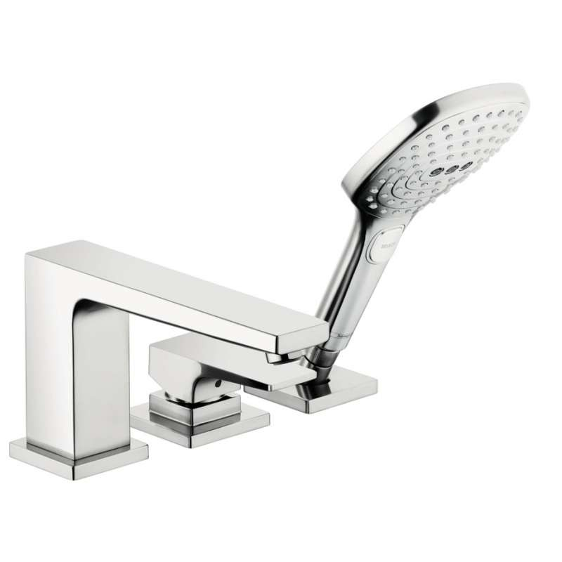 Hansgrohe Metropol 3-Hole Roman Tub Set Trim with Lever Handle and 2.0 GPM Handshower