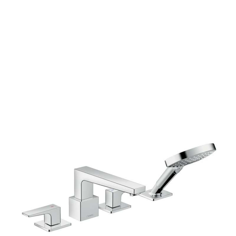 Hansgrohe Metropol 4-Hole Roman Tub Set Trim with Lever Handles and 2.0 GPM Handshower