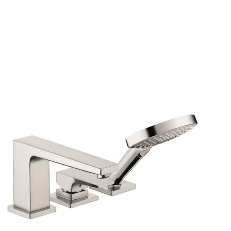 Hansgrohe Metropol 3-Hole Roman Tub Set Trim with Lever Handle and 1.75 GPM Handshower