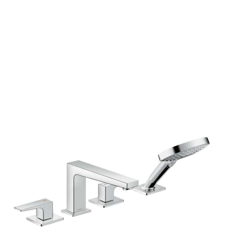 Hansgrohe Metropol 4-Hole Roman Tub Set Trim with Lever Handles and 1.75 GPM Handshower - In Multiple Colors