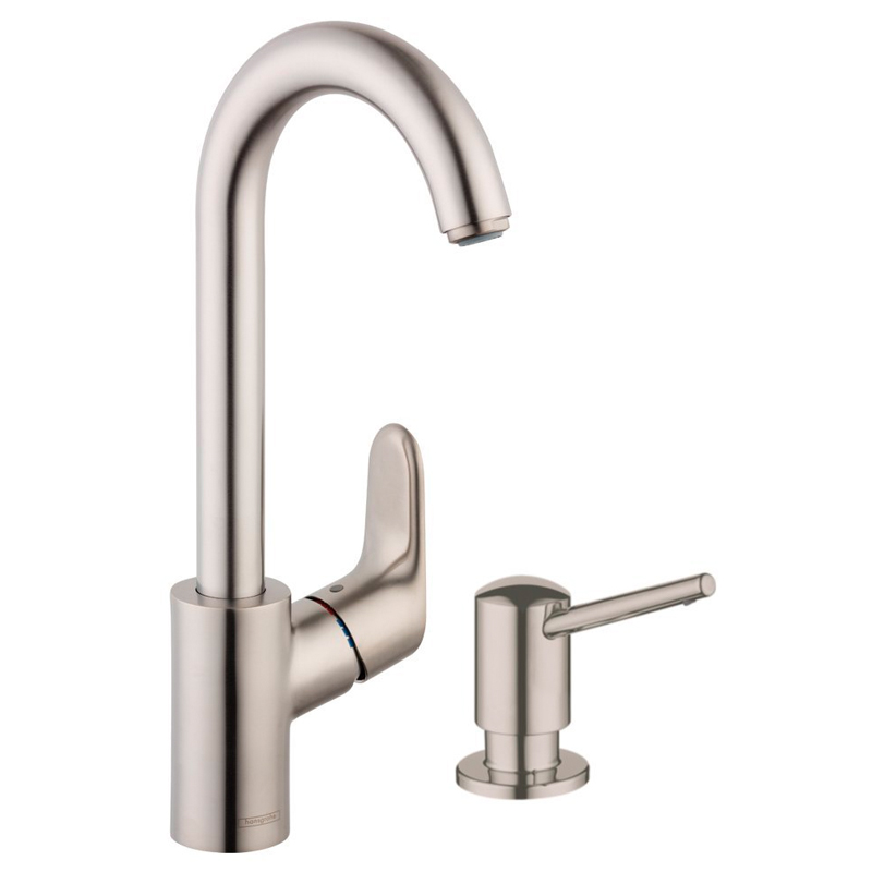 Buy Hansgrohe Focus Bar Kitchen Faucet With Soap Dispenser In Steel