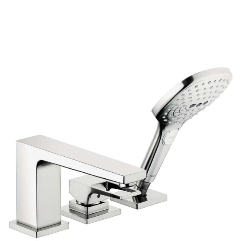 Hansgrohe Metropol 3-Hole Roman Tub Set Trim with Loop Handle and 2.0 GPM Handshower - In Multiple Colors